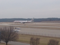 The 767 puts most aircraft to shame at RDU.